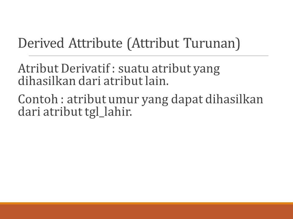 Derived Attribute (Attribut Turunan)