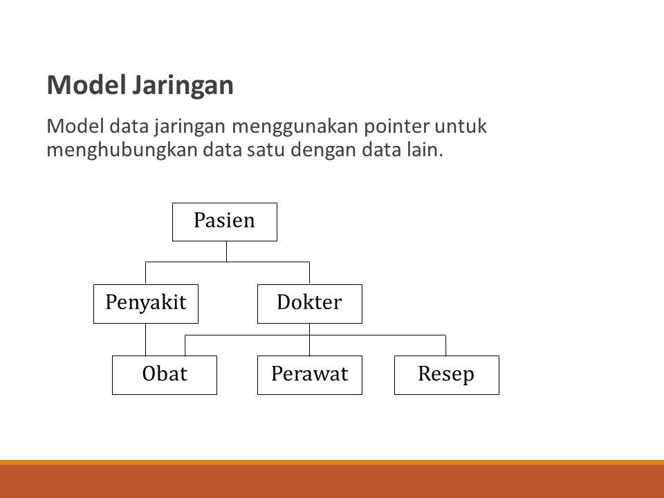 Model Jaringan Model data jaringan menggunakan pointer untuk menghubungkan data satu dengan data lain.
