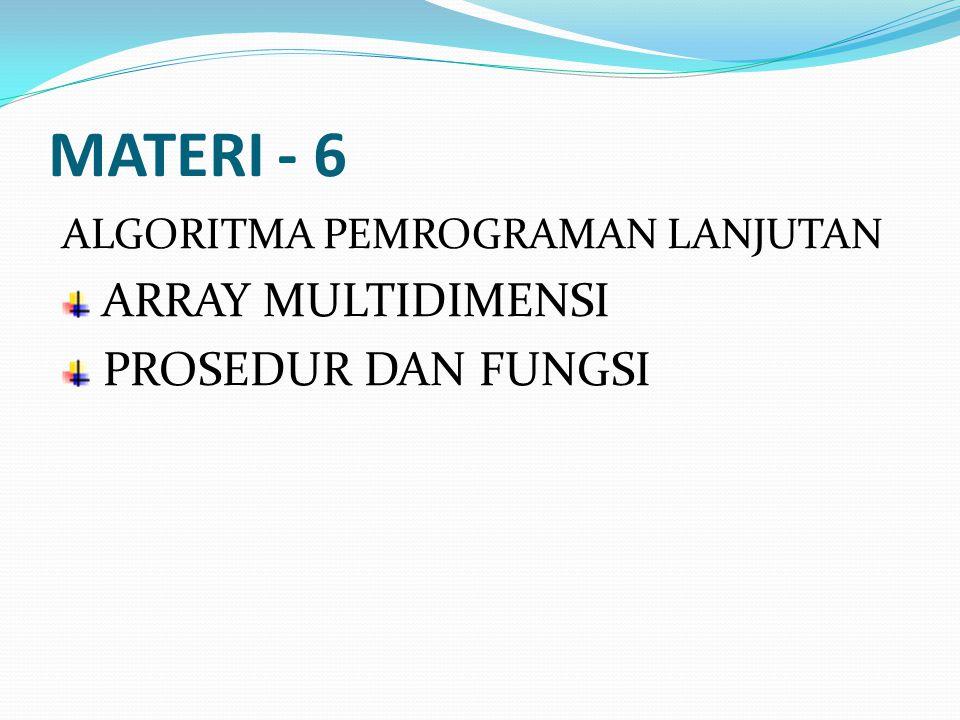MATERI - 6 ARRAY MULTIDIMENSI PROSEDUR DAN FUNGSI