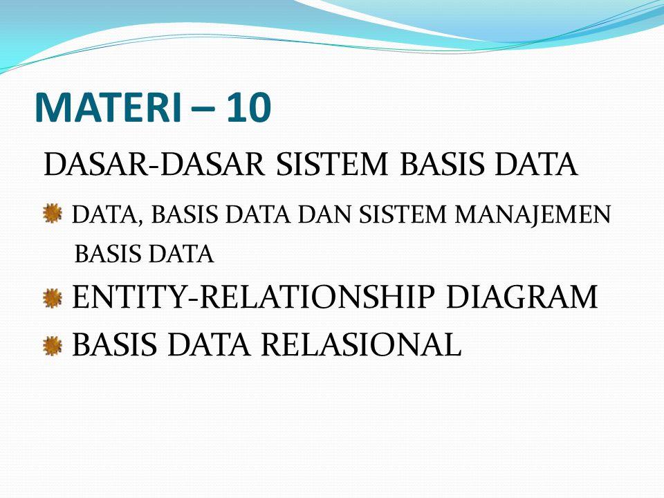 MATERI – 10 DASAR-DASAR SISTEM BASIS DATA