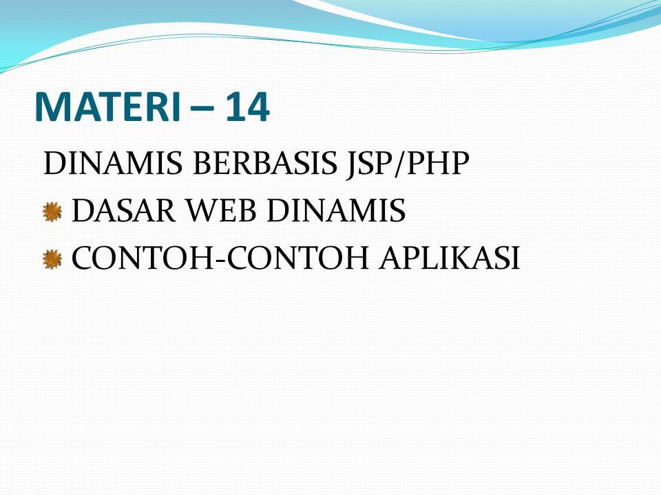 MATERI – 14 DINAMIS BERBASIS JSP/PHP DASAR WEB DINAMIS
