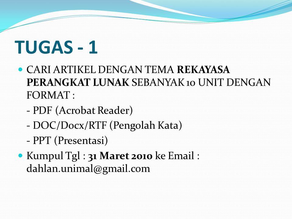 TUGAS - 1 CARI ARTIKEL DENGAN TEMA REKAYASA PERANGKAT LUNAK SEBANYAK 10 UNIT DENGAN FORMAT : - PDF (Acrobat Reader)
