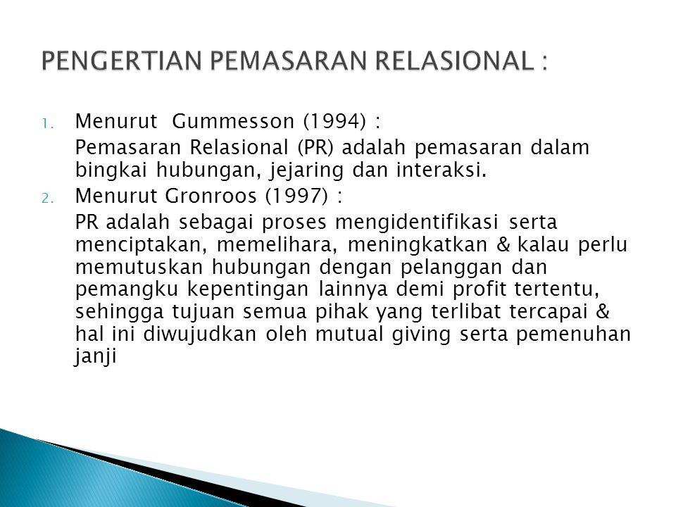 PENGERTIAN PEMASARAN RELASIONAL :