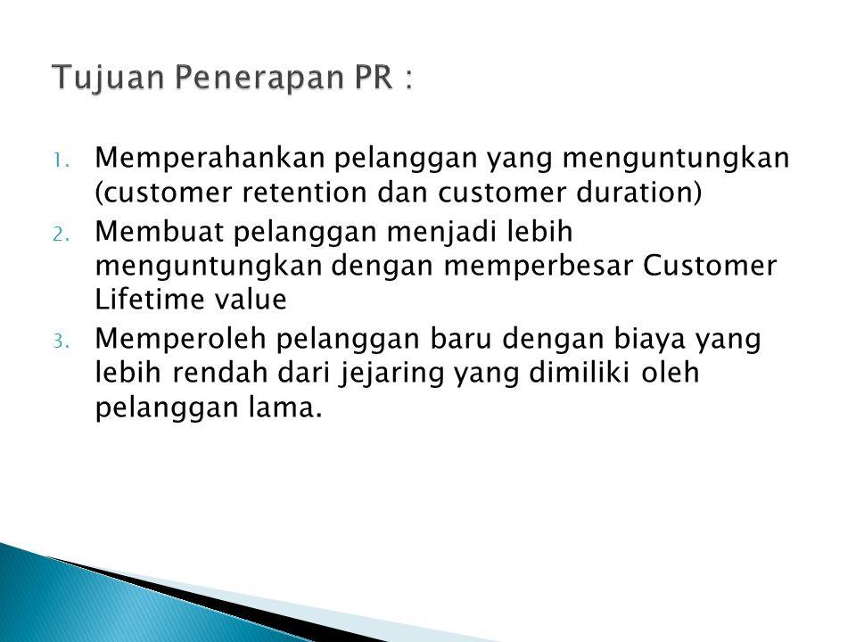Tujuan Penerapan PR : Memperahankan pelanggan yang menguntungkan (customer retention dan customer duration)
