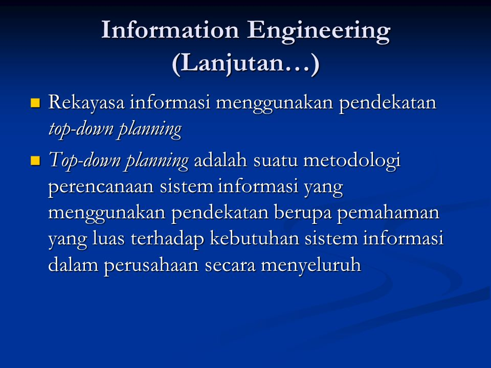 Information Engineering (Lanjutan…)
