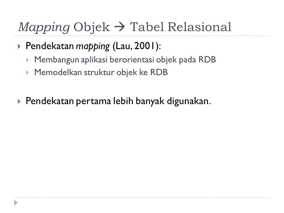 Mapping Objek  Tabel Relasional