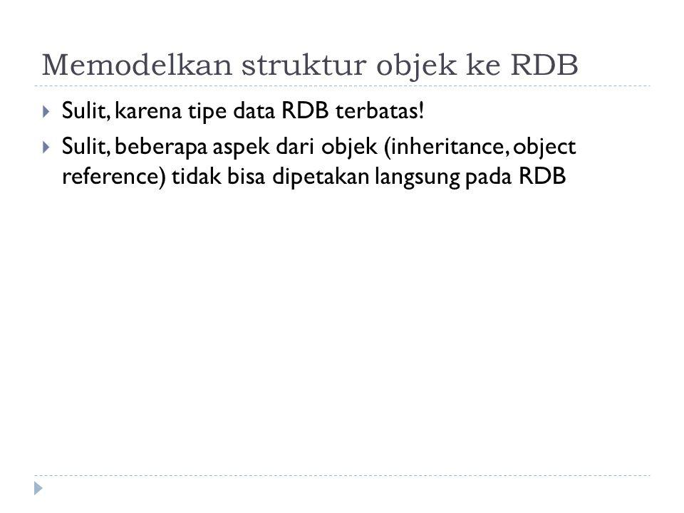 Memodelkan struktur objek ke RDB