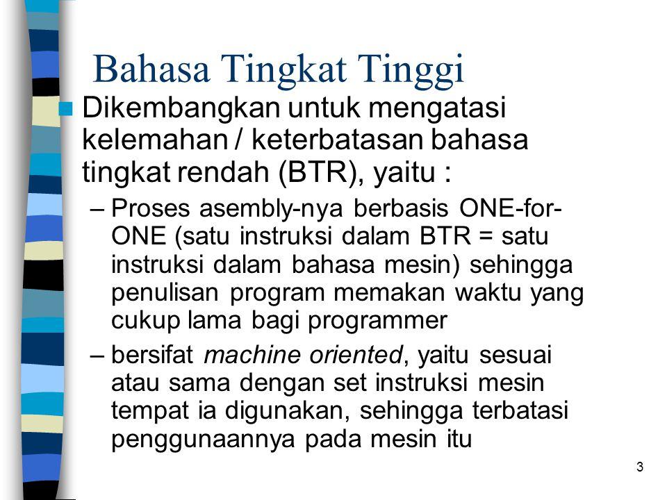 Bahasa Tingkat Tinggi Dikembangkan untuk mengatasi kelemahan / keterbatasan bahasa tingkat rendah (BTR), yaitu :