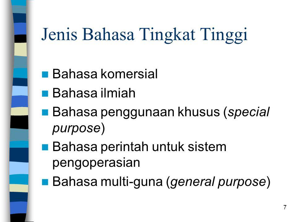 Jenis Bahasa Tingkat Tinggi