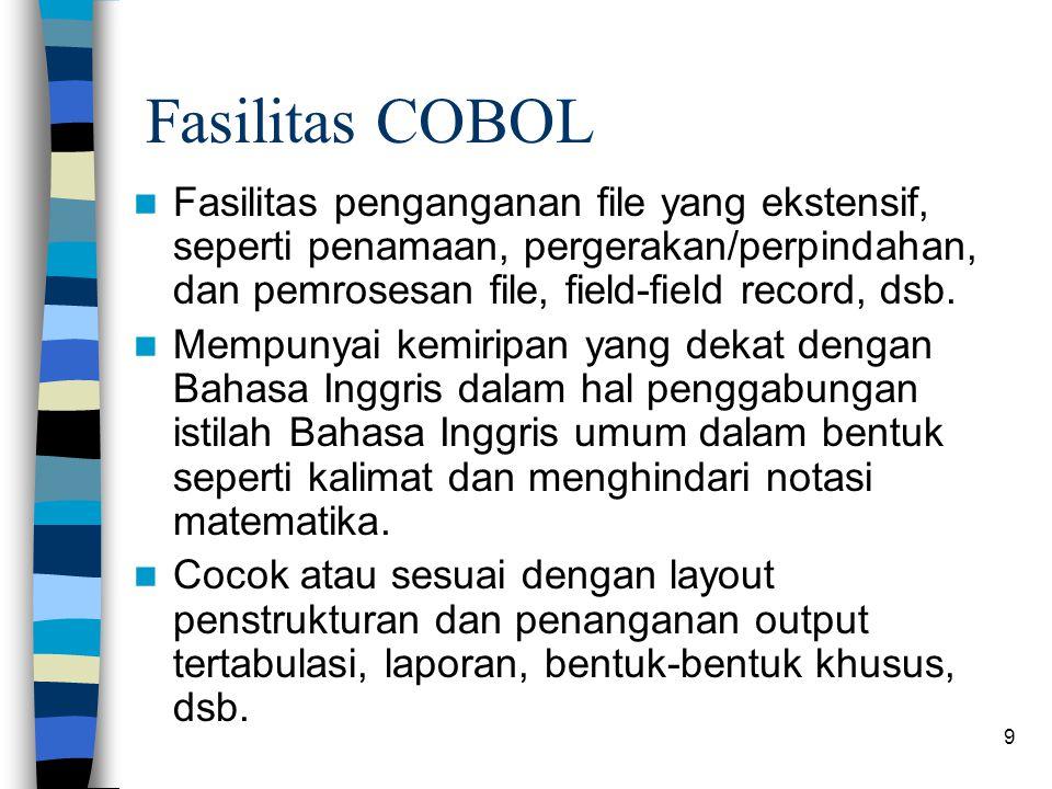 Fasilitas COBOL Fasilitas penganganan file yang ekstensif, seperti penamaan, pergerakan/perpindahan, dan pemrosesan file, field-field record, dsb.