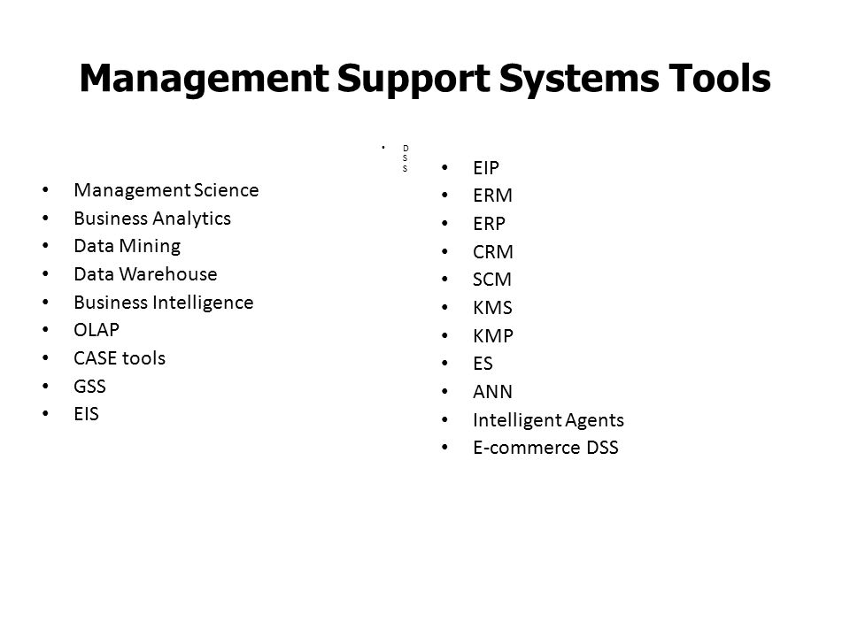 Management Support Systems Tools