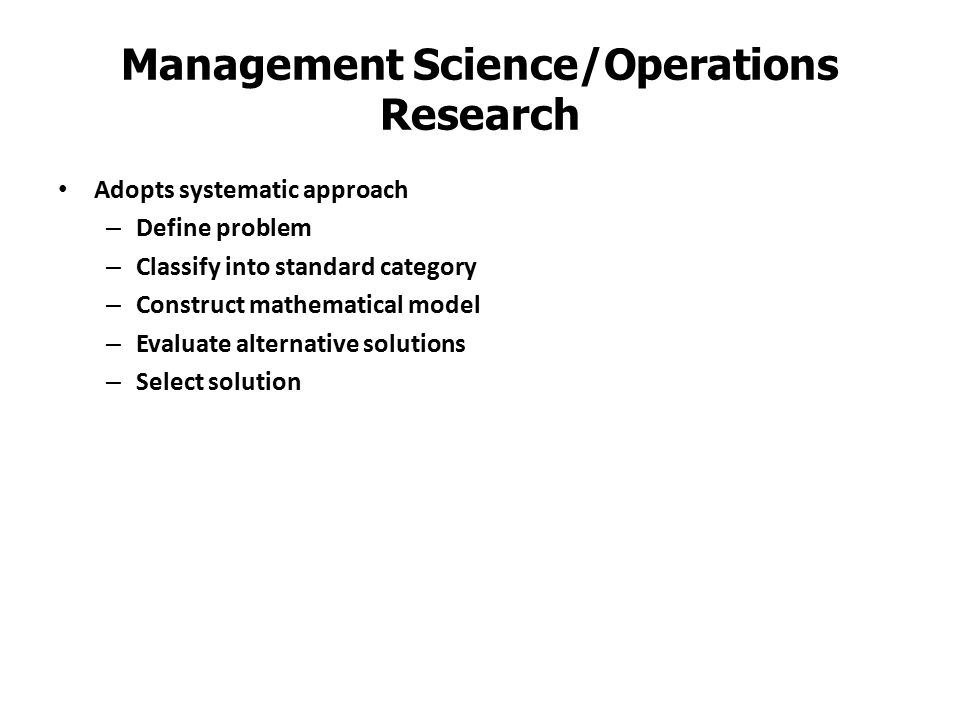 Management Science/Operations Research