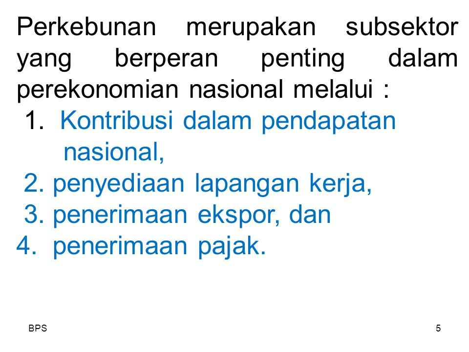 1. Kontribusi dalam pendapatan nasional, 2. penyediaan lapangan kerja,