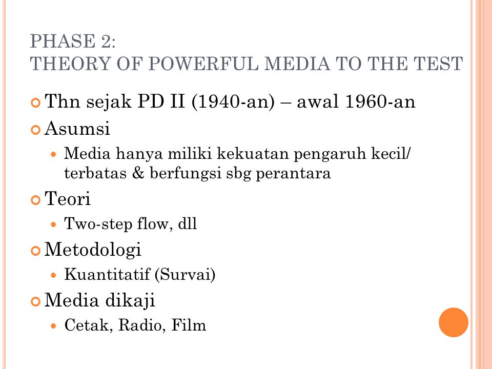 PHASE 2: THEORY OF POWERFUL MEDIA TO THE TEST