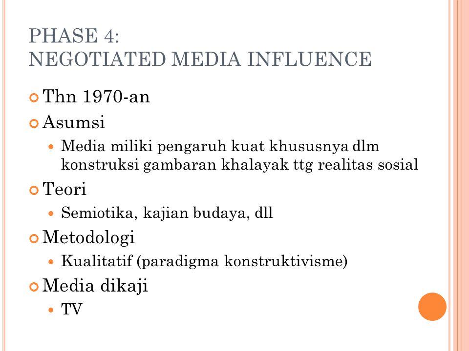 PHASE 4: NEGOTIATED MEDIA INFLUENCE