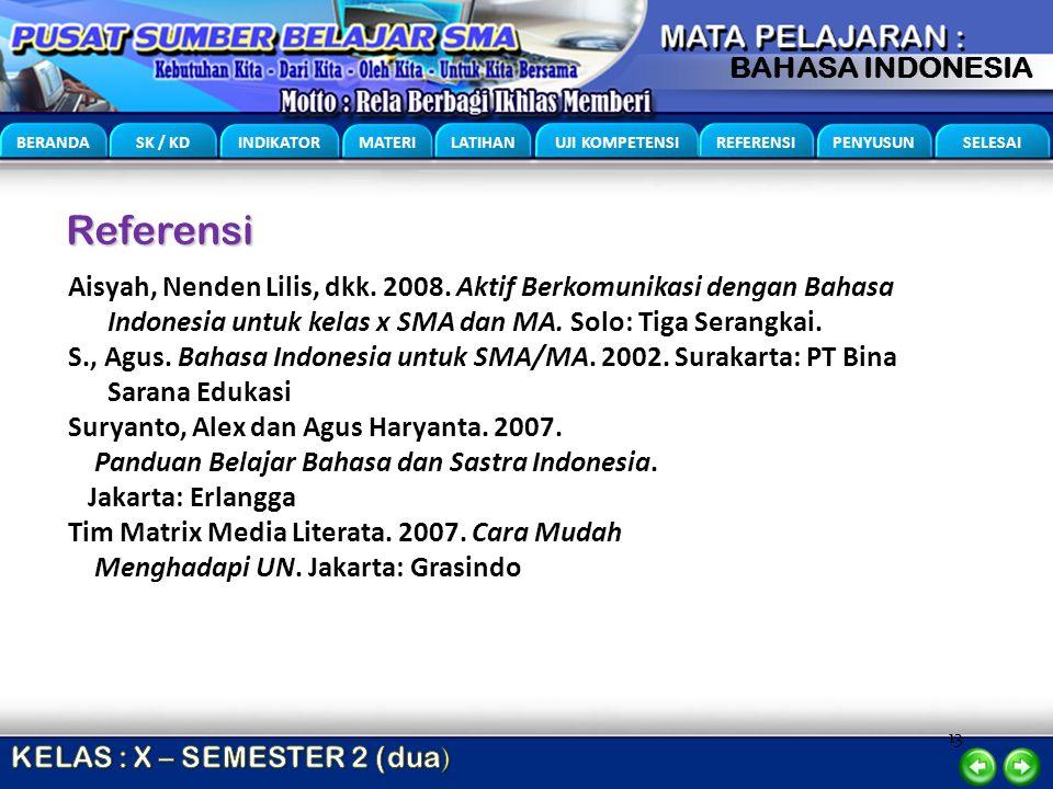 Referensi Aisyah, Nenden Lilis, dkk. 2008. Aktif Berkomunikasi dengan Bahasa Indonesia untuk kelas x SMA dan MA. Solo: Tiga Serangkai.