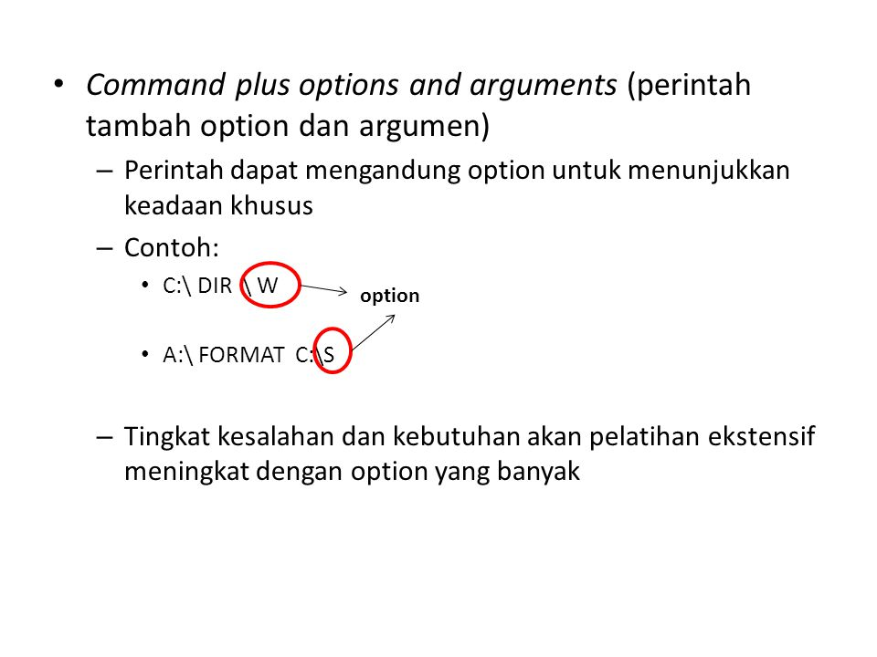Command plus options and arguments (perintah tambah option dan argumen)