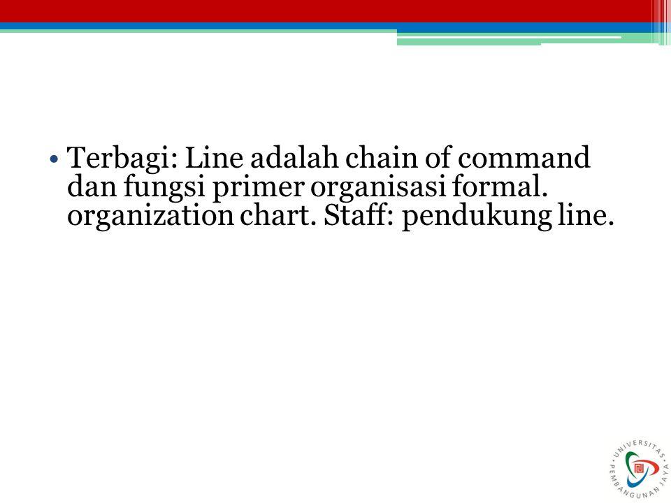 Terbagi: Line adalah chain of command dan fungsi primer organisasi formal.