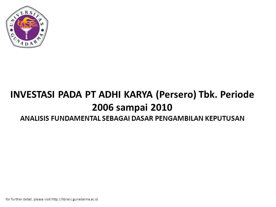 INVESTASI PADA PT ADHI KARYA (Persero) Tbk