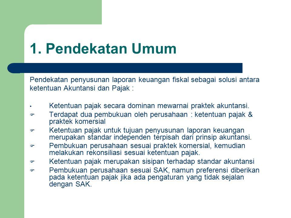 1. Pendekatan Umum Pendekatan penyusunan laporan keuangan fiskal sebagai solusi antara. ketentuan Akuntansi dan Pajak :