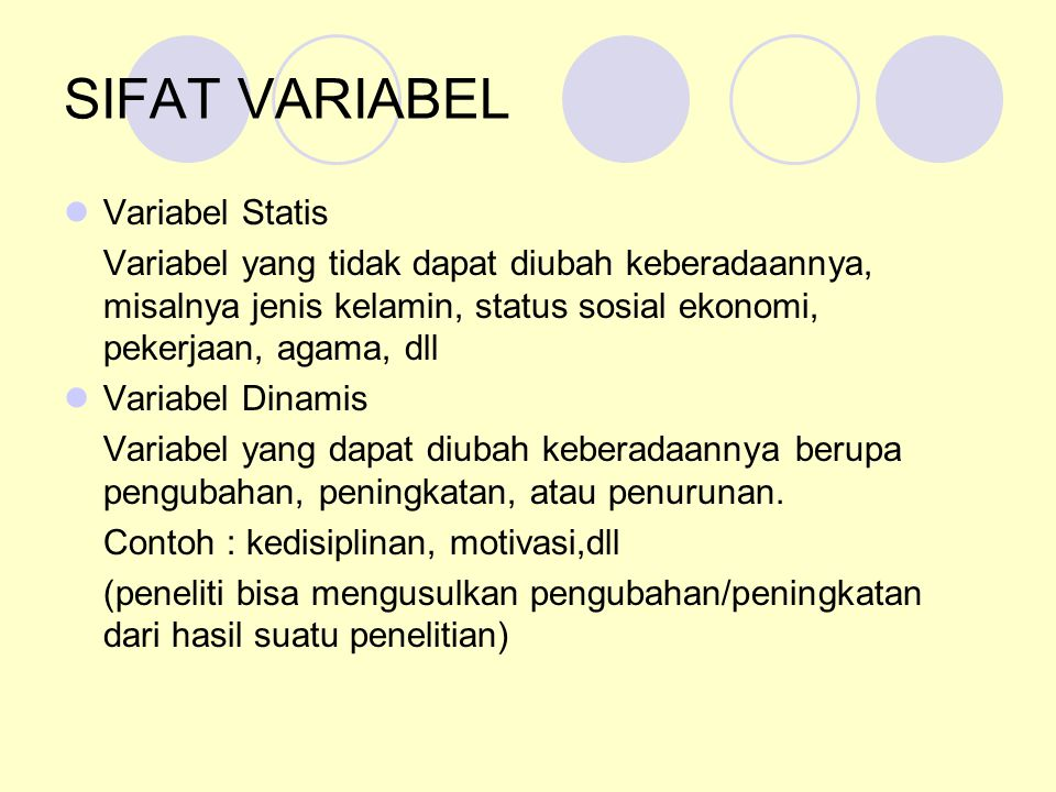 SIFAT VARIABEL Variabel Statis