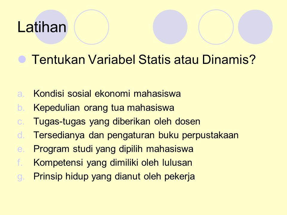 Latihan Tentukan Variabel Statis atau Dinamis