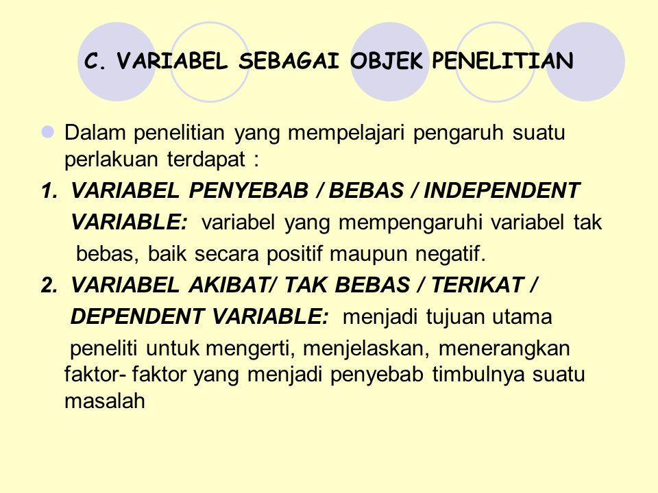 C. VARIABEL SEBAGAI OBJEK PENELITIAN