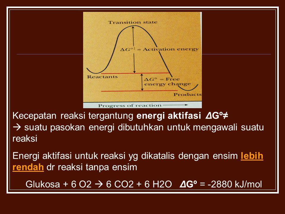 Glukosa + 6 O2  6 CO2 + 6 H2O ΔGº = -2880 kJ/mol