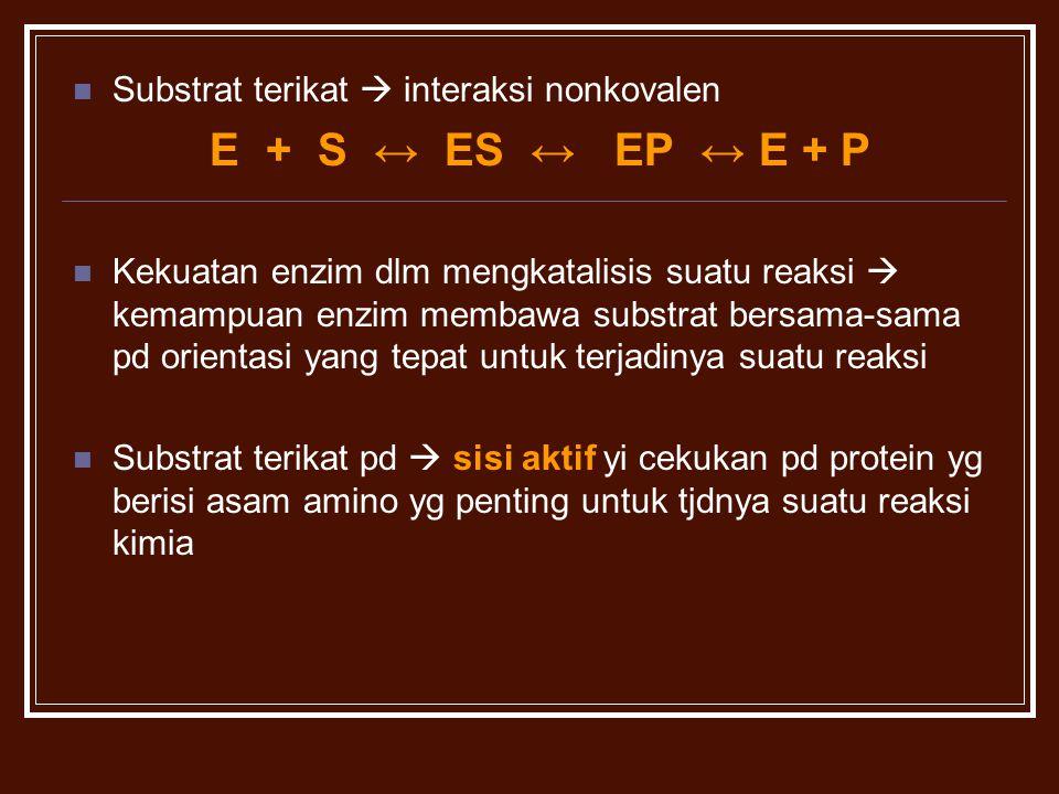 E + S ↔ ES ↔ EP ↔ E + P Substrat terikat  interaksi nonkovalen