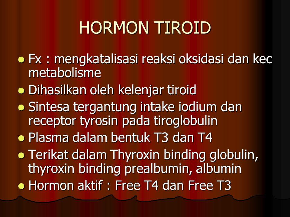 HORMON TIROID Fx : mengkatalisasi reaksi oksidasi dan kec metabolisme