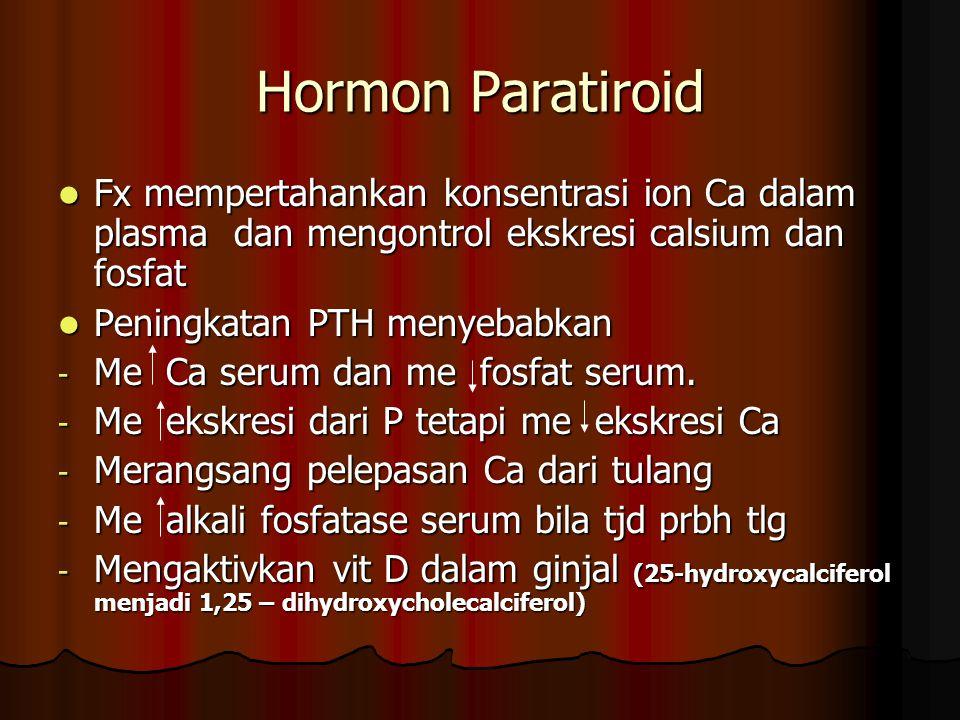 Hormon Paratiroid Fx mempertahankan konsentrasi ion Ca dalam plasma dan mengontrol ekskresi calsium dan fosfat.