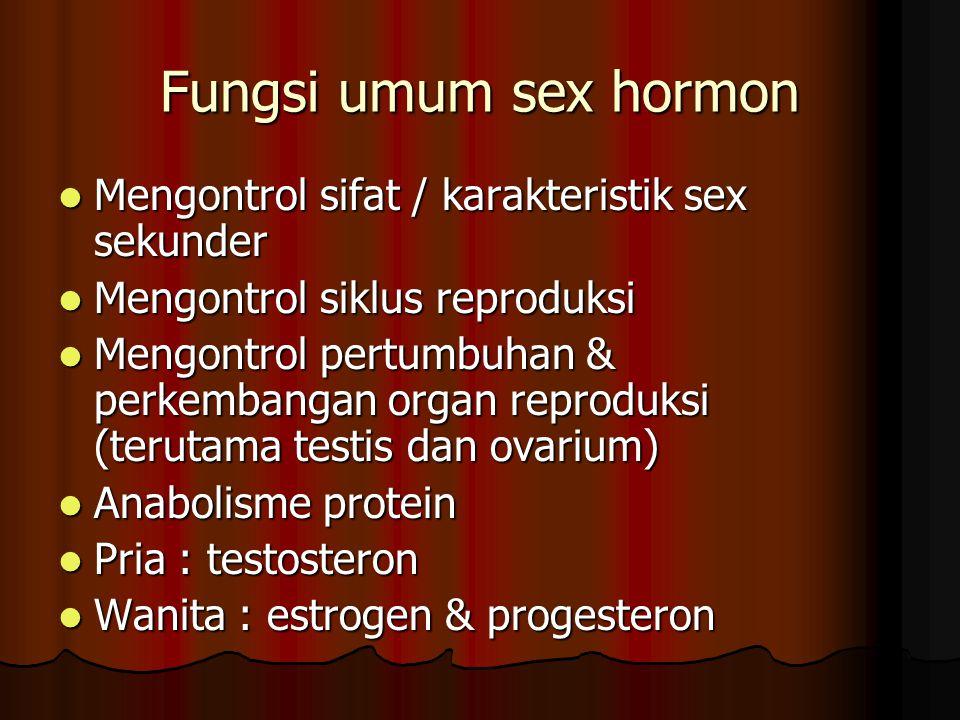 Fungsi umum sex hormon Mengontrol sifat / karakteristik sex sekunder