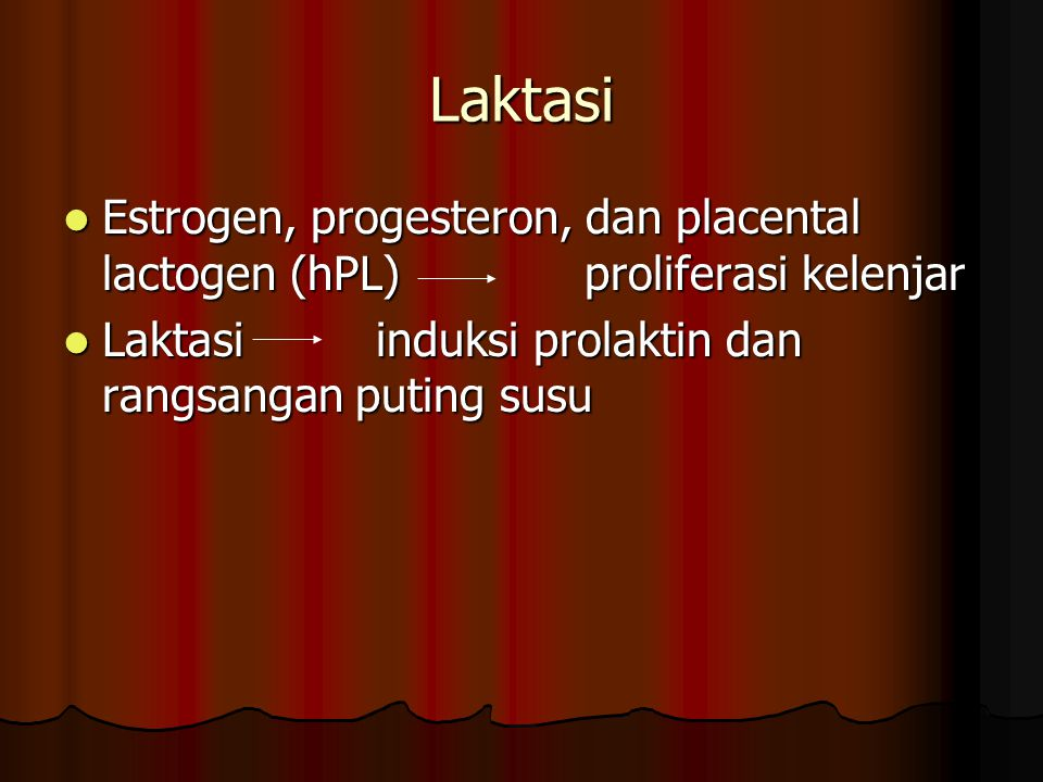 Laktasi Estrogen, progesteron, dan placental lactogen (hPL) proliferasi kelenjar.