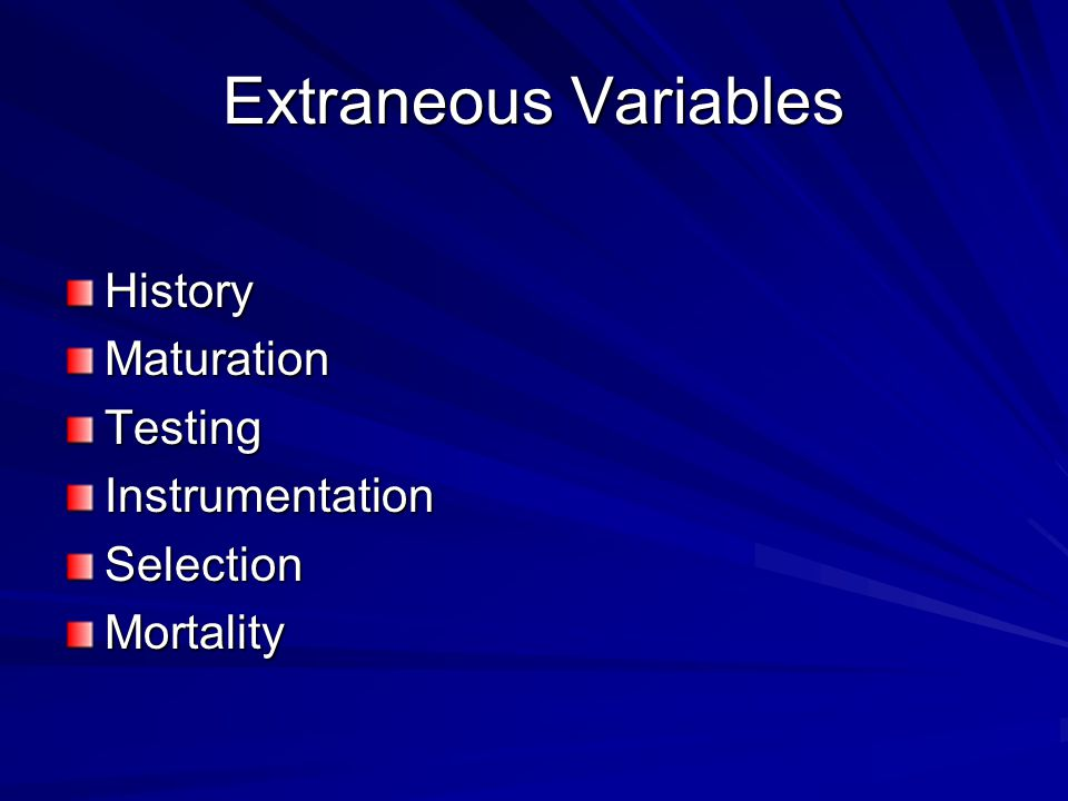 Extraneous Variables History Maturation Testing Instrumentation