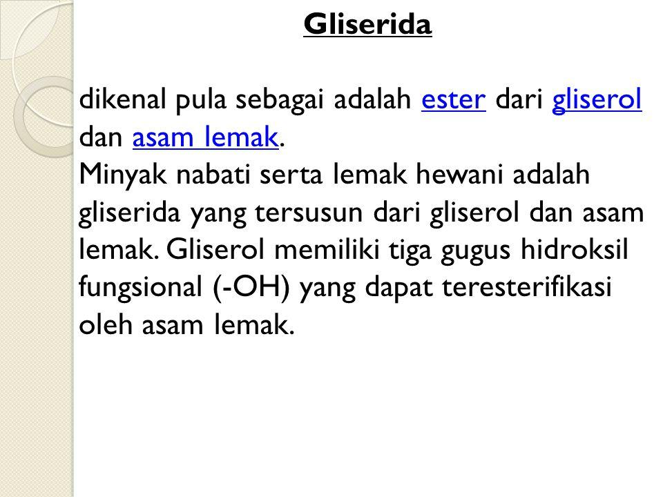 Gliserida dikenal pula sebagai adalah ester dari gliserol dan asam lemak.