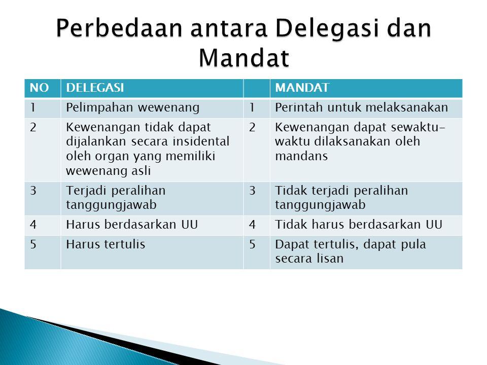 Perbedaan antara Delegasi dan Mandat