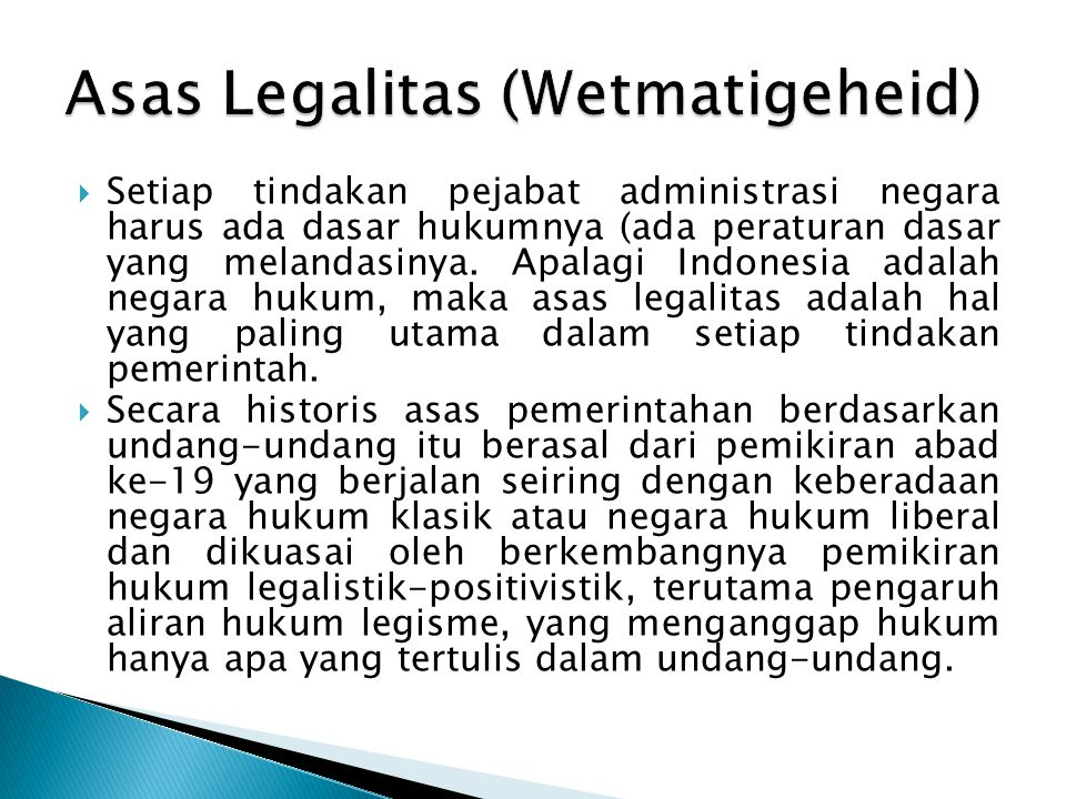 Asas Legalitas (Wetmatigeheid)