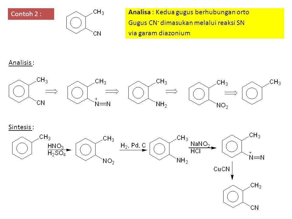 Contoh 2 : Analisa : Kedua gugus berhubungan orto. Gugus CN- dimasukan melalui reaksi SN. via garam diazonium.