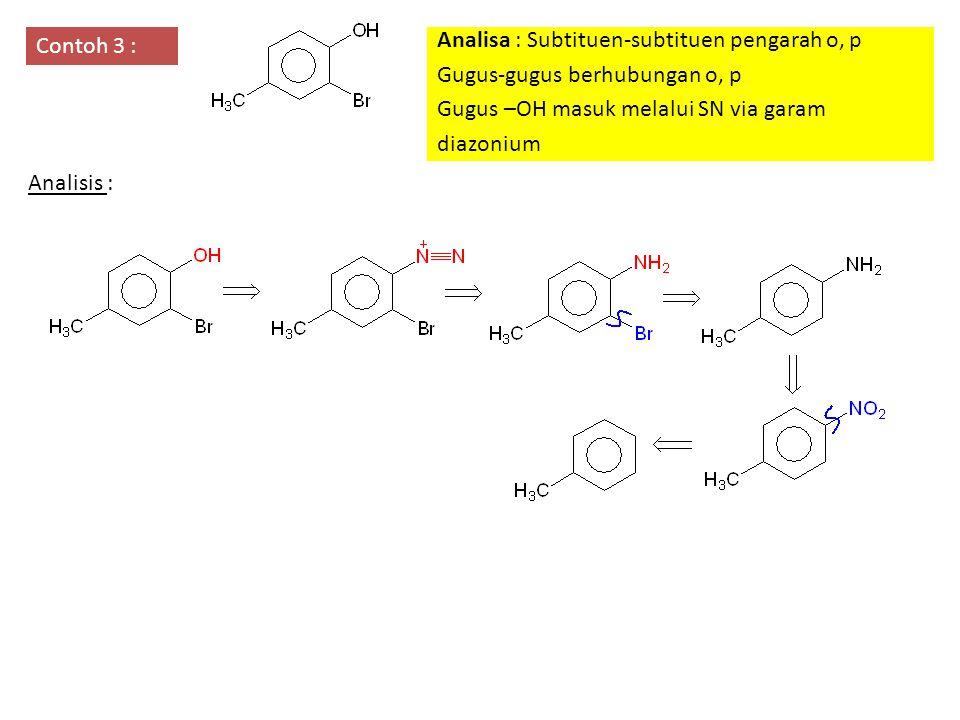 Contoh 3 : Analisa : Subtituen-subtituen pengarah o, p. Gugus-gugus berhubungan o, p. Gugus –OH masuk melalui SN via garam.