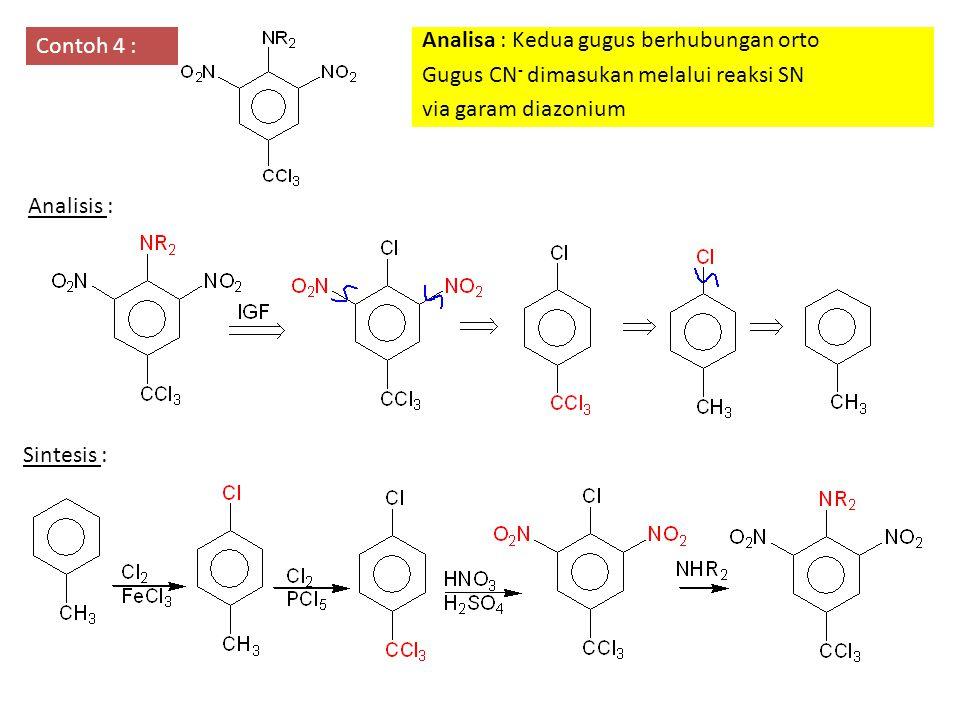 Contoh 4 : Analisa : Kedua gugus berhubungan orto. Gugus CN- dimasukan melalui reaksi SN. via garam diazonium.