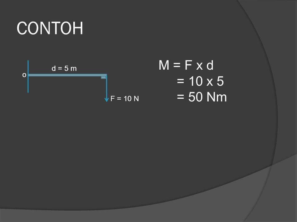 CONTOH M = F x d = 10 x 5 = 50 Nm d = 5 m o F = 10 N