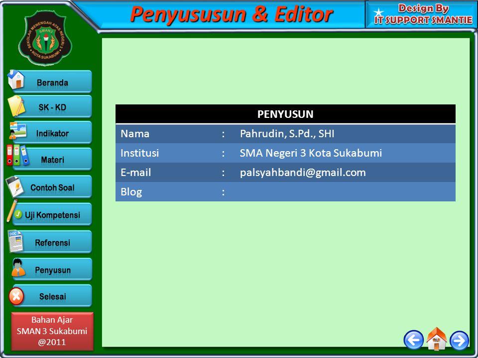 Penyususun & Editor PENYUSUN Nama : Pahrudin, S.Pd., SHI Institusi