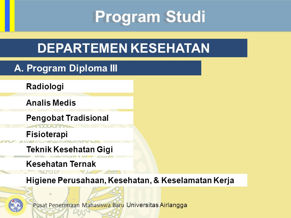 Program Studi DEPARTEMEN KESEHATAN A. Program Diploma III Radiologi