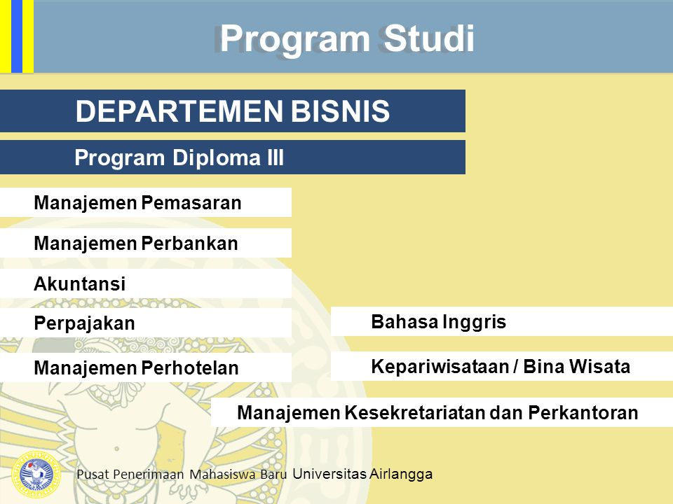 Program Studi DEPARTEMEN BISNIS Program Diploma III