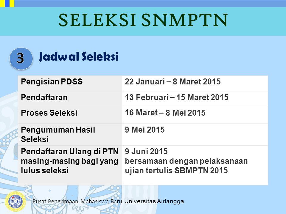 SELEKSI SNMPTN 3 Jadwal Seleksi Pengisian PDSS