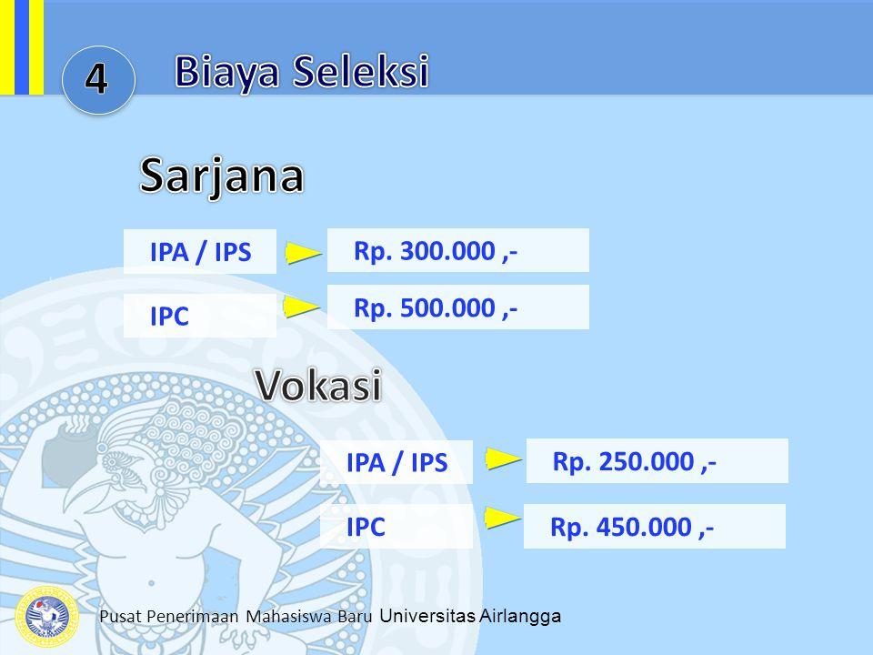 Sarjana Sarjana Biaya Seleksi 4 Vokasi IPA / IPS Rp. 300.000 ,-