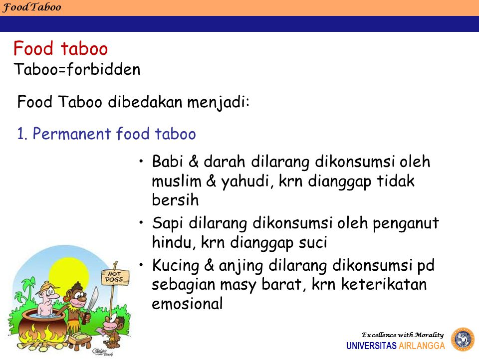Food taboo Taboo=forbidden