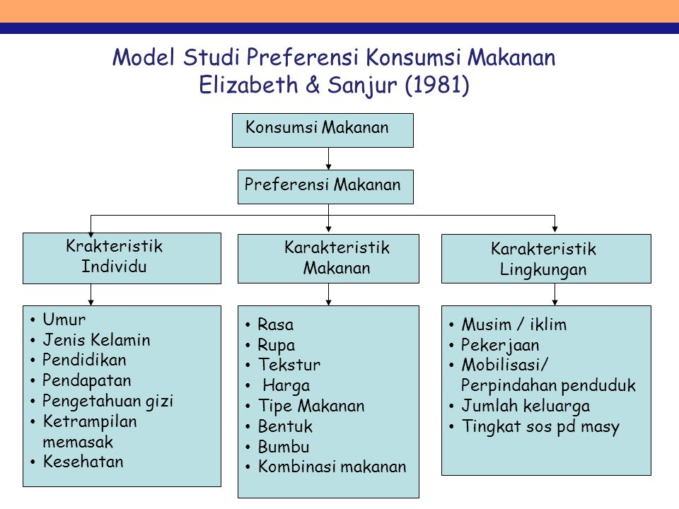 Model Studi Preferensi Konsumsi Makanan Elizabeth & Sanjur (1981)