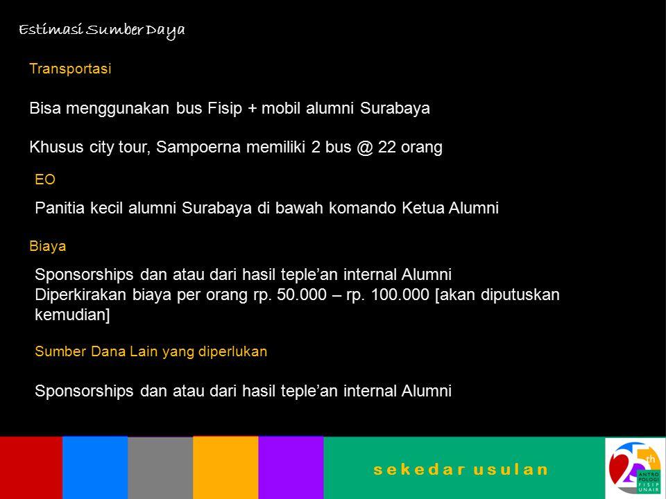 Bisa menggunakan bus Fisip + mobil alumni Surabaya