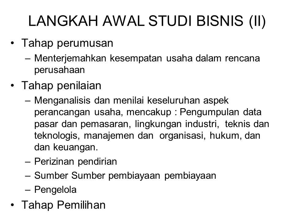 LANGKAH AWAL STUDI BISNIS (II)